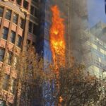 Fire engulfs construction site on Macquarie Street in Sydney's CBD
